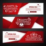 Stellen Sie horizontale Fahne glücklicher Valentinsgruß des Schablonendesigns ` s Tagesein Flieger mit rote Farbband und speziell Lizenzfreies Stockbild