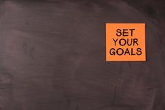 Stellen Sie Ihre Ziele ein Stockfotos