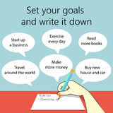 Stellen Sie Ihre Ziele ein und notieren Sie es Stockbild