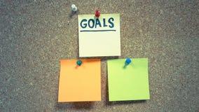 Stellen Sie Ihre Zielunternehmenskonzeptpapieraufkleber ein Stockbild
