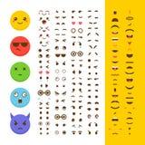 Stellen Sie Ihren eigenen Emoticon her Kawaii stellt gegenüber Emoji avatara zeichen vektor abbildung