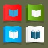 Stellen Sie Ikone eines Vektors des offenen Buches ein Stockfoto