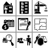 Stellen Sie Ikone von Immobilien ein lizenzfreie abbildung