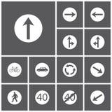 Stellen Sie Ikone von Verkehrsschildern ein Stockfotos