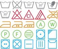 Stellen Sie Ikone von waschenden Zeichen ein Lizenzfreie Stockfotos