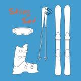 Stellen Sie Ikone von Wintersportausrüstungsikonen ein - Ski und Ski haftet, Schuhe, Maske Stockfotos