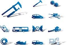 Stellen Sie Ikonen - 108A ein. Maschinen und Technologien Lizenzfreie Stockbilder