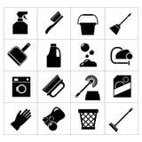 Stellen Sie Ikonen der Reinigung ein stock abbildung