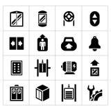 Stellen Sie Ikonen des Aufzugs und des Aufzugs ein lizenzfreie abbildung