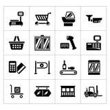 Stellen Sie Ikonen des Einzelhandels und der Supermarktausrüstung ein lizenzfreie abbildung