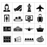 Stellen Sie Ikonen des Flughafens ein Stockbild