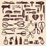 Stellen Sie Ikonen des haircutting Werkzeugs - Illustration ein Stockfotografie