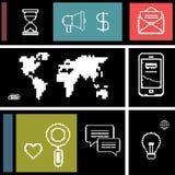 Stellen Sie Ikonen für Geschäft, Internet und Kommunikation ein Lizenzfreies Stockbild