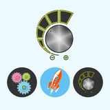Stellen Sie Ikonen mit Gängen, Rakete, Lautstärkeregler, Vektorillustration ein Stockfoto
