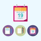 Stellen Sie Ikonen mit Klemmbrett, Notizbuch, Kalenderblatt, Vektorillustration ein lizenzfreie abbildung