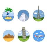 Stellen Sie Ikonen Tourismus und Erholung Lizenzfreies Stockbild