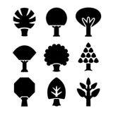 Stellen Sie Ikonen von Bäumen ein lizenzfreie abbildung