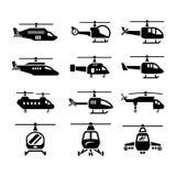 Stellen Sie Ikonen von Hubschraubern ein lizenzfreie abbildung