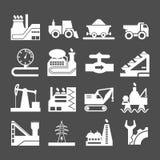 Stellen Sie Ikonen von industriellem ein lizenzfreie abbildung