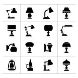 Stellen Sie Ikonen von Lampen ein lizenzfreie abbildung