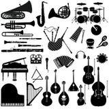 Stellen Sie Ikonen von Musikinstrumenten ein vektor abbildung