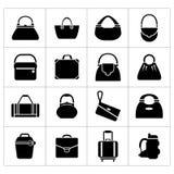 Stellen Sie Ikonen von Taschen ein stock abbildung
