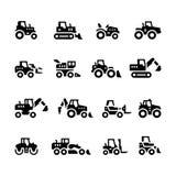Stellen Sie Ikonen von Traktoren ein Lizenzfreie Stockfotos