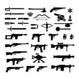 Stellen Sie Ikonen von Waffen ein Stockbilder