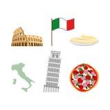 Stellen Sie Ikonensymbole von Italien ein Flagge und Karte, Colosseum und leanin Lizenzfreie Stockfotos