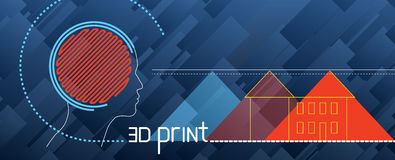 Stellen Sie Illustration über Drucken 3d, Drucker, Faden, der Gkabeljau ein und modellieren, Prototyp, Hintergrund Lizenzfreies Stockfoto