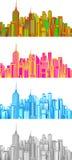 Stellen Sie Illustration von Stadtbild ein. Lizenzfreie Stockfotografie