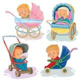 Stellen Sie Illustrationen von Kleinkindern in einem Kinderwagen und in einem Spaziergänger ein Lizenzfreies Stockfoto