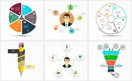 Stellen Sie Infographic-Schablone ein Datensichtbarmachung Lizenzfreies Stockbild