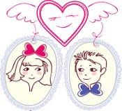 Stellen Sie Inneres mit Flügeln dar, das Paare gewählt hat lizenzfreie abbildung
