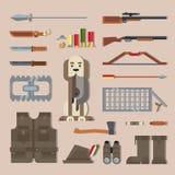 Stellen Sie Jagdwerkzeuge, Ausrüstung ein Stockfoto