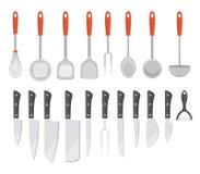 Stellen Sie Küchenwerkzeuge, flache Art ein Stellen Sie Kochgeräte, die Ikonen ein, die auf weißem Hintergrund lokalisiert werden Lizenzfreie Stockfotografie