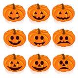 Stellen Sie Kürbise für Halloween ein stock abbildung