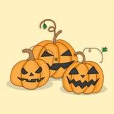 Stellen Sie Kürbise für Halloween ein Stockbilder