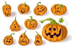 Stellen Sie Kürbise für Halloween ein Stockfoto