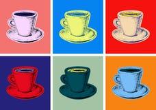 Stellen Sie Kaffeetasse-Vektor-Illustrations-Knall Art Style ein Lizenzfreie Stockfotografie