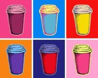 Stellen Sie Kaffeetasse-Vektor-Illustrations-Knall Art Style ein Lizenzfreies Stockbild