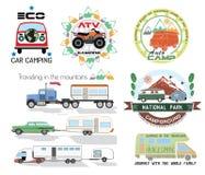 Stellen Sie kampierendes Logo und Gestaltungselemente des Autos ein Lizenzfreies Stockfoto