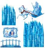 Stellen Sie Karikaturhaus für die Märchen Schnee-Königin ein, die von Hans Christian Andersen geschrieben wird Stockfotos