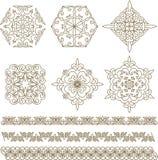 Stellen Sie kasachische asiatische Verzierungen und Muster ein stock abbildung