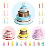Stellen Sie Kuchen für Jahrestag ein stock abbildung