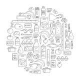 Stellen Sie in lineare einfache Art von Supermarktprodukten ein vektor abbildung