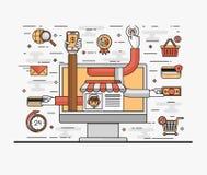 Stellen Sie Linie flache Illustration der Kunst vom Konzept bequemes und sicheres on-line-Einkaufen ein Stockbild