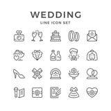 Stellen Sie Linie Ikonen der Hochzeit ein Stockfotografie