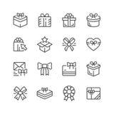 Stellen Sie Linie Ikonen des Geschenks ein Lizenzfreie Stockfotos
