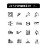 Stellen Sie Linie Ikonen ein Vektor Bau, errichtend Stockfoto
